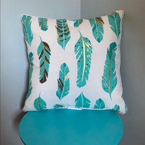 Decorative Pillow w/ feather design & gold accents